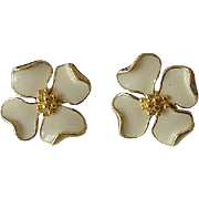Trifari Dogwood Flower Enameled Post Earrings