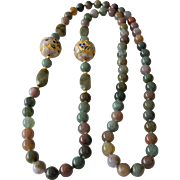 Natural  Stones and Cloisonné Beads Necklace