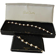 """Pearl- Swirl"" 1966 Sarah Coventry Necklace Bracelet Set in Box"
