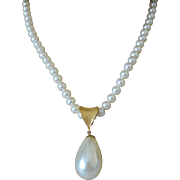 "Sarah Coventry Faux Pearls ""Pompeii"" Pendant Necklace  1974"