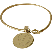 "Initial ""D"" Sarah Coventry Snake Chain Charm Bracelet"