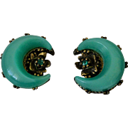 Mid Century Green Moon Glow Thermoset Half Moon Clip Earrings