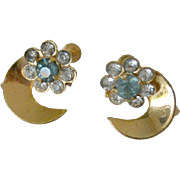 Dainty Half Moon Blue Rhinestone Screw Back Earrings