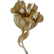 Signed Lisner Flower on Stem Faux Pearls Gold Tone Pin