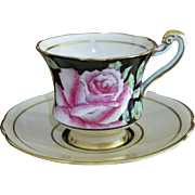 Paragon Pink Rose on Black Demitasse Cup and Saucer Set Queen Mary Warrant