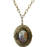 Georgian Revival Courting Scene Cameo Locket Necklace