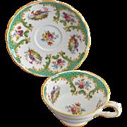 "Grosvenor China ""Rutland"" Green Pattern No 8761 Cup and Saucer Set"