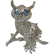 Blue Eyed Rhinestones Owl Figure Pin