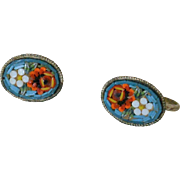 Oval Micro Mosaic Flowers Screw Back Earrings