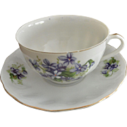 Yoko Boeki Co Japan Hand Painted Violet Flowers Porcelain Tea Cup and Saucer