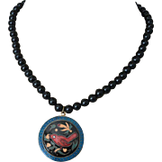 Hand Painted Red Bird Enameled Medallion Pendant Necklace