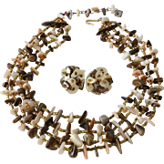 Four Strands Mother of Pearl Necklace and Earrings Taupe Coral Brown