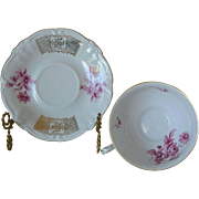 Royal Castle Bavaria Footed Cup and Saucer Pink Flowers and Gilt