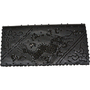 Sequined Dragon Black Satin Clutch Purse Hand Made Hong Kong