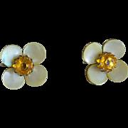Mother of Pearl Floret Amber Rhinestone Screw Back Earrings