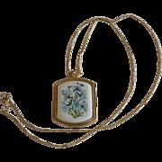 Avon Blue Daffodils Picture Pendant Necklace