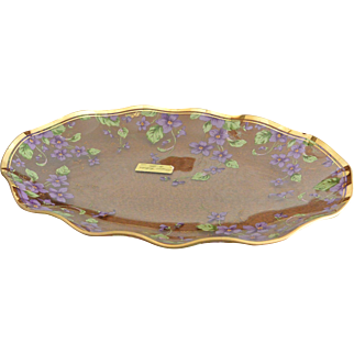 Lefton Ruffled Glass Platter with Violet Flowers 13.0 Inch
