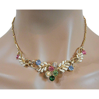 Coro Rhinestones and White Enameled Leaf Necklace