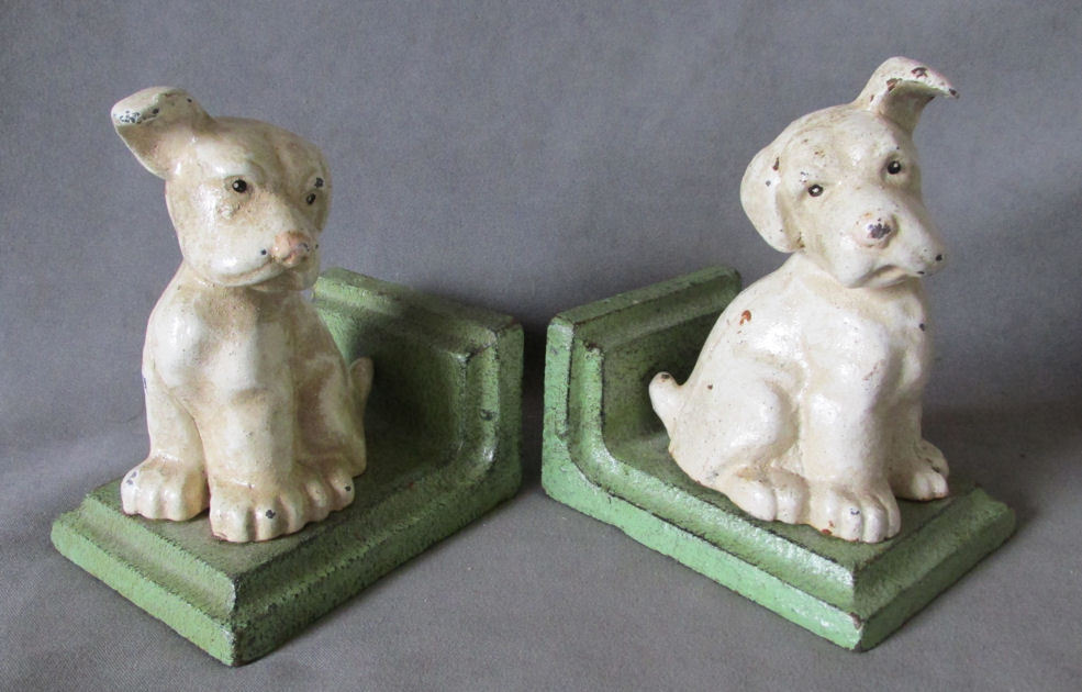 c1920s art deco puppy dog bookends by littco cast iron dogs sold ruby lane. Black Bedroom Furniture Sets. Home Design Ideas
