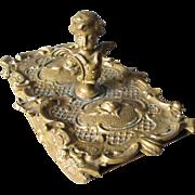 Lovely Antique Victorian Bronze Cherub Angel Desk Blotter