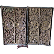 Pair Antique Victorian Architectural Repousse Brass Plaques