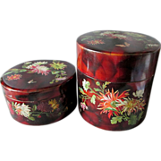 Pair c1880 Victorian Paper Mache Vanity Boxes, Floral Butterfly