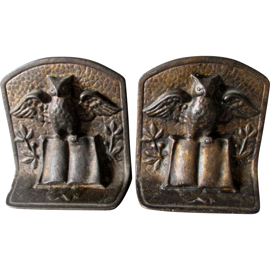 Nice C1920s Art Deco Owl Book Cast Iron Bookends Sold On