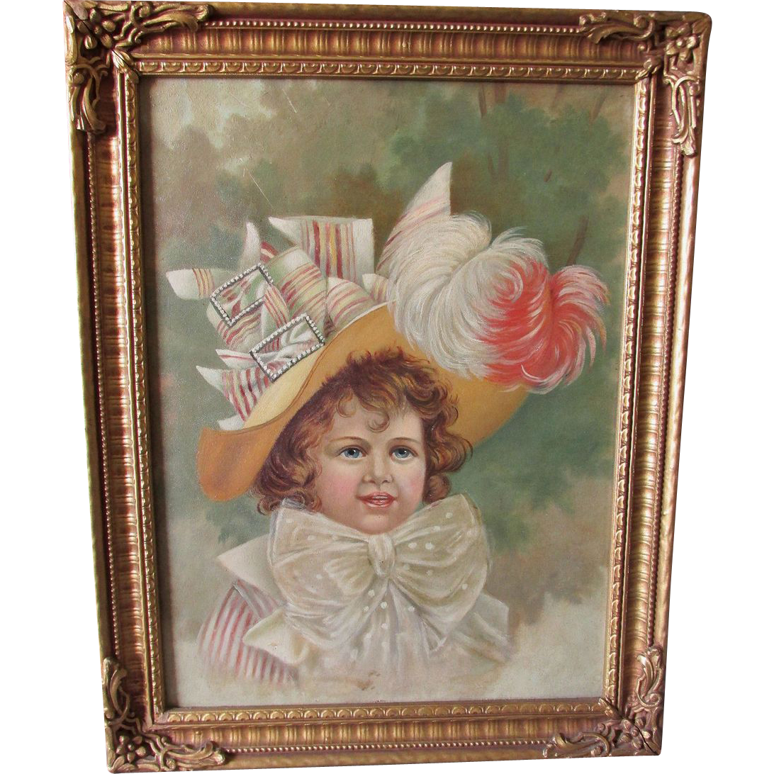 Charming c1900 Oil Painting of a Little Girl in her Best ... - photo#33