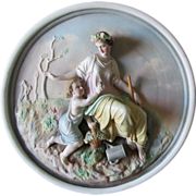 19thC Bisque Plaque depicting Spring with Lady & Child