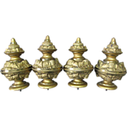 4 Big c1860s Gilt Brass Architectural Finials w/Thistle Flowers