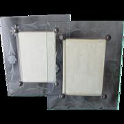 Pair Art Deco Etched Glass Picture Frames Original Box
