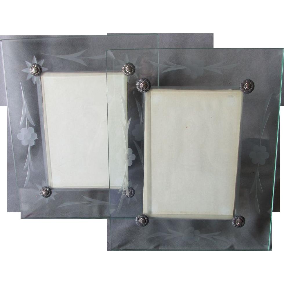 pair deco etched glass picture frames original box
