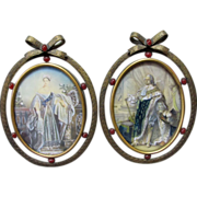 Pair c1900  Miniature Paintings, French King Queen, Royalty