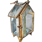 Victorian Beveled Glass Figural House Pocket Watch Hutch