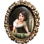 Victorian Hand Painted Porcelain Plaque of Pretty Girl