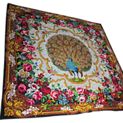 19thC Victorian Mohair Peacock & Roses Tapestry, Tablecloth