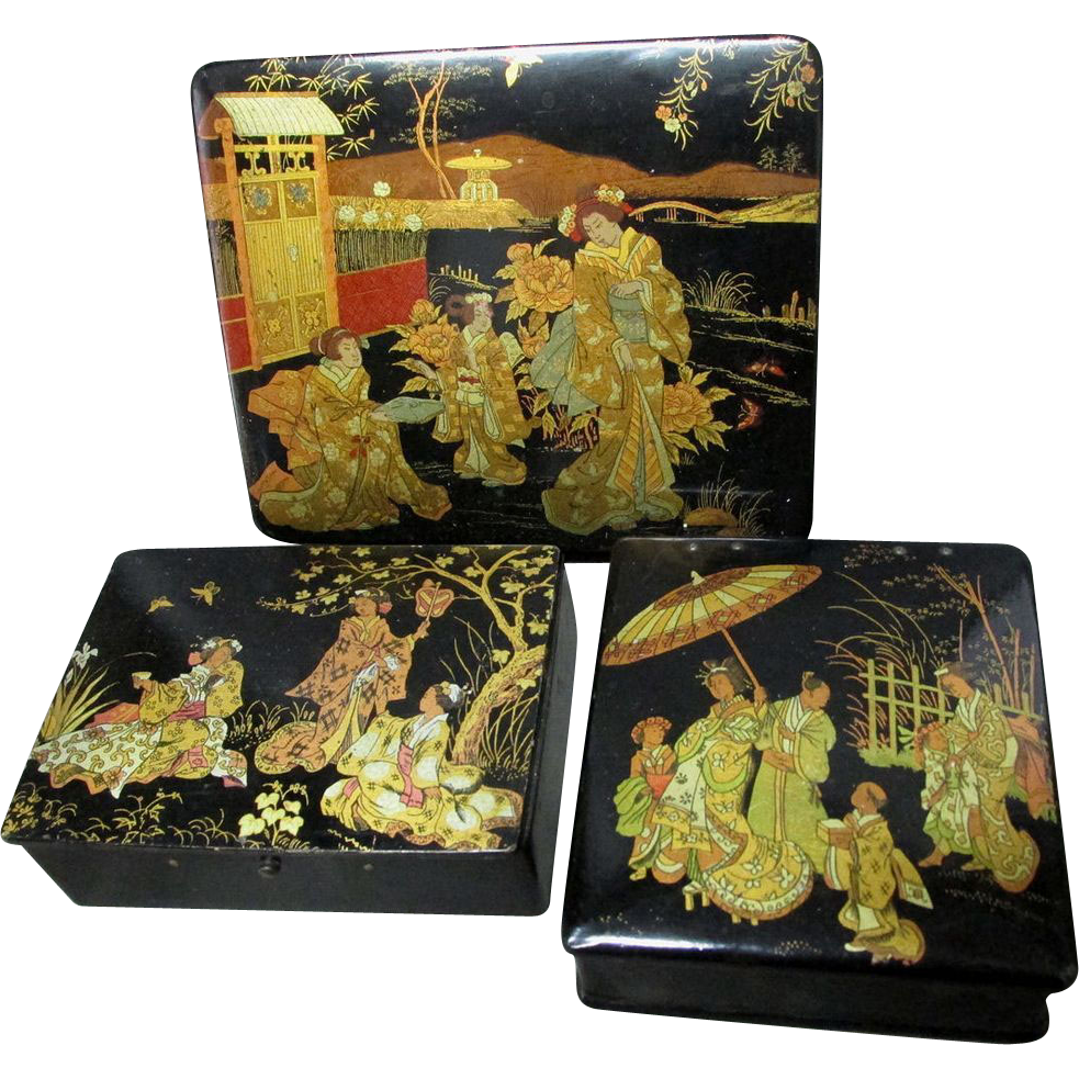 19thc victorian chinoiserie paper mache vanity boxes sold for Paper mache furniture ideas