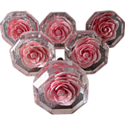 6 Vintage Pink Roses Lucite Handles, Drawer Pulls