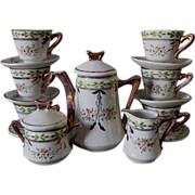 c1880s Child's Tea Set, Hand Painted Porcelain, Copper Luster