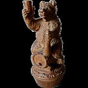 Black Forest Hand Carved Bear on Keg, Bottle Stopper