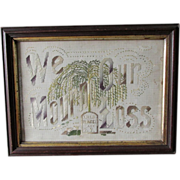c1870s Victorian Mourning Motto Sampler with Weeping Willow Tree