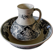 c1879 Aesthetic Japanesque Transferware Pitcher & Bowl, English Ironstone