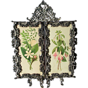 Beautiful 19thC Victorian Tri Fold Vanity Mirror with Flowers