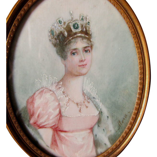 Antique Miniature Painting of a Queen with Jeweled Crown ...