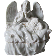 c1880 Victorian Porcelain Fairing Box of an Angel and Child