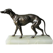 c1920-30s Art Deco Greyhound Dog Sculpture, Alabaster Base