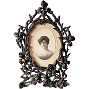 Victorian Brass Picture Frame with Iris Flowers