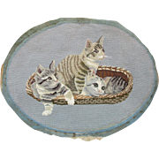 Vintage c1940s Needlepoint of 3 Cats or Kittens in Basket