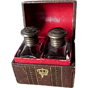 Lovely Miniature Dome Top Box with Fitted Perfume Bottles, Tooled Leather