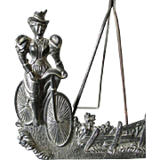 Whimsical c1896 Lady on Bicycle, Picture Frame or Mirror